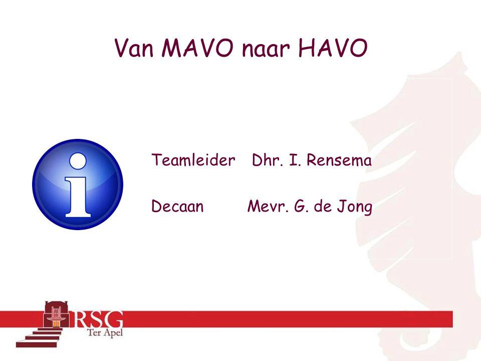 Van MAVO naar HAVO Teamleider Dhr. I. Rensema Decaan Mevr. G. de Jong