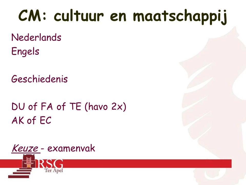 Nederlands Engels Geschiedenis DU of FA of TE (havo 2x) AK of EC Keuze - examenvak CM: cultuur en maatschappij