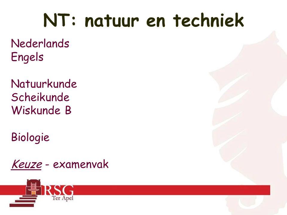 NT: natuur en techniek Nederlands Engels Natuurkunde Scheikunde Wiskunde B Biologie Keuze - examenvak
