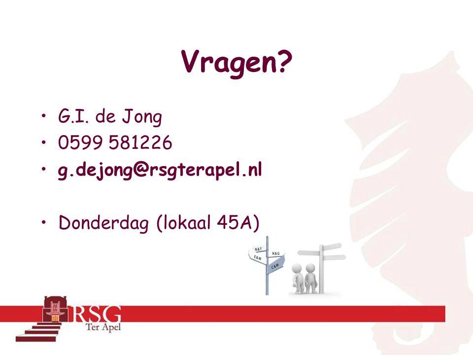 Vragen G.I. de Jong 0599 581226 g.dejong@rsgterapel.nl Donderdag (lokaal 45A)