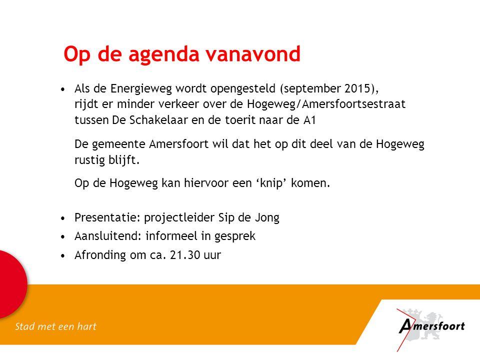 Op de agenda vanavond Als de Energieweg wordt opengesteld (september 2015), rijdt er minder verkeer over de Hogeweg/Amersfoortsestraat tussen De Schak