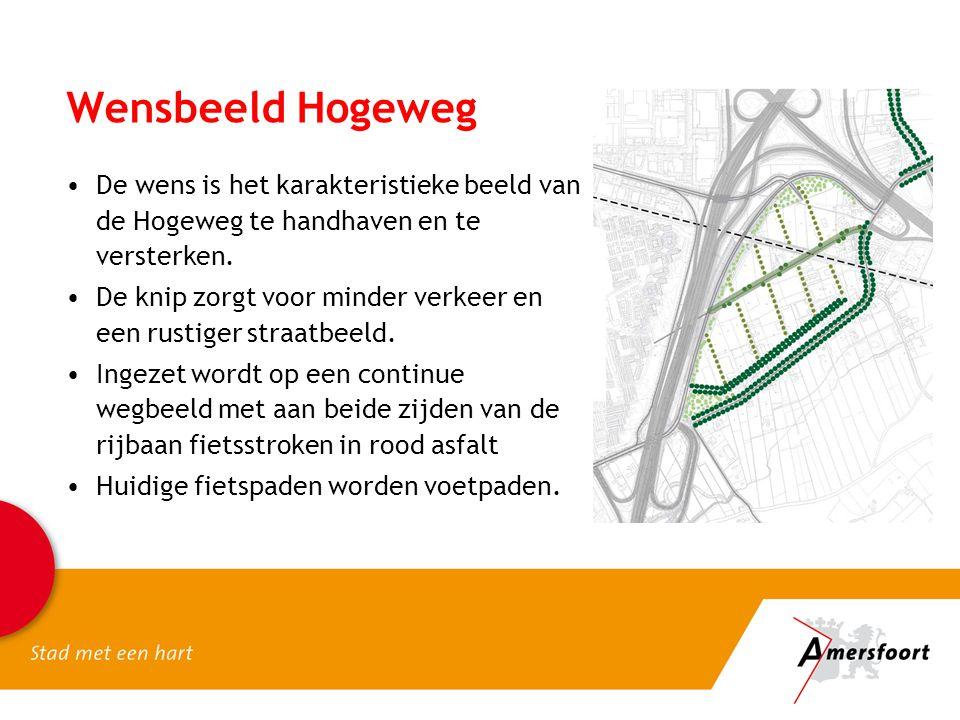 Wensbeeld Hogeweg De wens is het karakteristieke beeld van de Hogeweg te handhaven en te versterken. De knip zorgt voor minder verkeer en een rustiger
