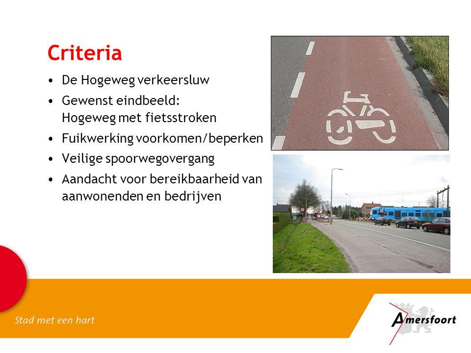 Criteria De Hogeweg verkeersluw Gewenst eindbeeld: Hogeweg met fietsstroken Fuikwerking voorkomen/beperken Veilige spoorwegovergang Aandacht voor bere