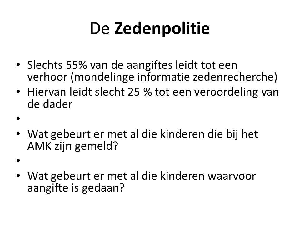 De Zedenpolitie Slechts 55% van de aangiftes leidt tot een verhoor (mondelinge informatie zedenrecherche) Hiervan leidt slecht 25 % tot een veroordeling van de dader Wat gebeurt er met al die kinderen die bij het AMK zijn gemeld.
