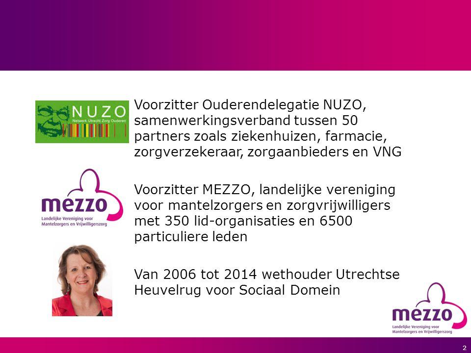 2 Voorzitter Ouderendelegatie NUZO, samenwerkingsverband tussen 50 partners zoals ziekenhuizen, farmacie, zorgverzekeraar, zorgaanbieders en VNG Voorzitter MEZZO, landelijke vereniging voor mantelzorgers en zorgvrijwilligers met 350 lid-organisaties en 6500 particuliere leden Van 2006 tot 2014 wethouder Utrechtse Heuvelrug voor Sociaal Domein