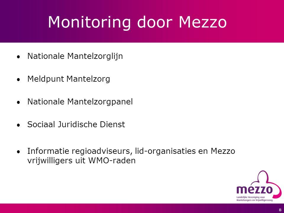 8 Monitoring door Mezzo Nationale Mantelzorglijn Meldpunt Mantelzorg Nationale Mantelzorgpanel Sociaal Juridische Dienst Informatie regioadviseurs, lid-organisaties en Mezzo vrijwilligers uit WMO-raden