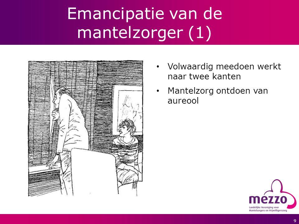 9 Emancipatie van de mantelzorger (1) Volwaardig meedoen werkt naar twee kanten Mantelzorg ontdoen van aureool