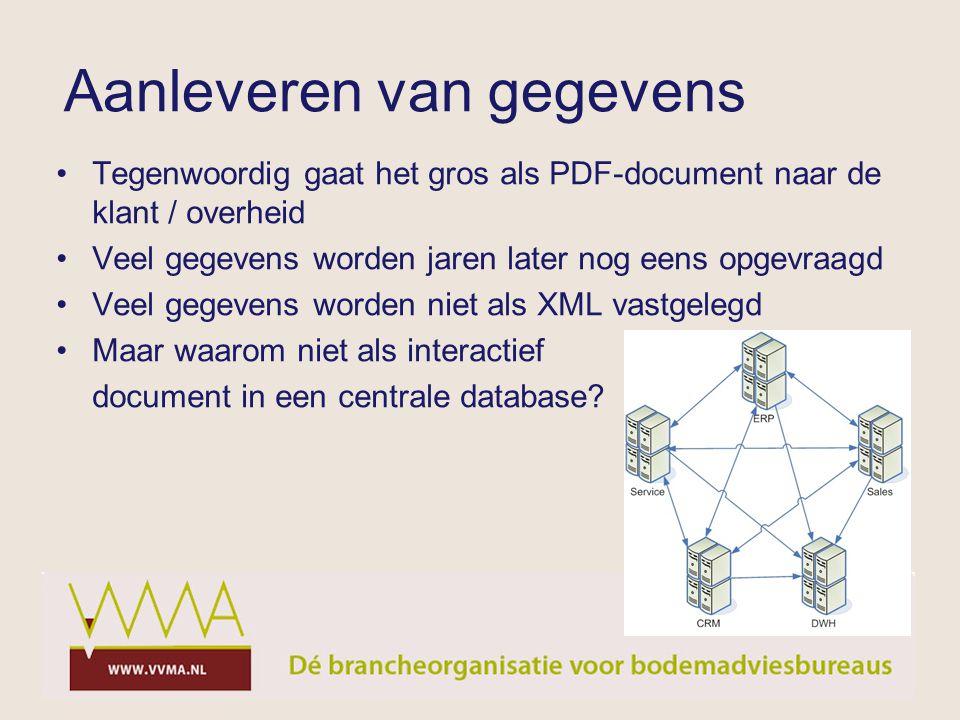 Tegenwoordig gaat het gros als PDF-document naar de klant / overheid Veel gegevens worden jaren later nog eens opgevraagd Veel gegevens worden niet al