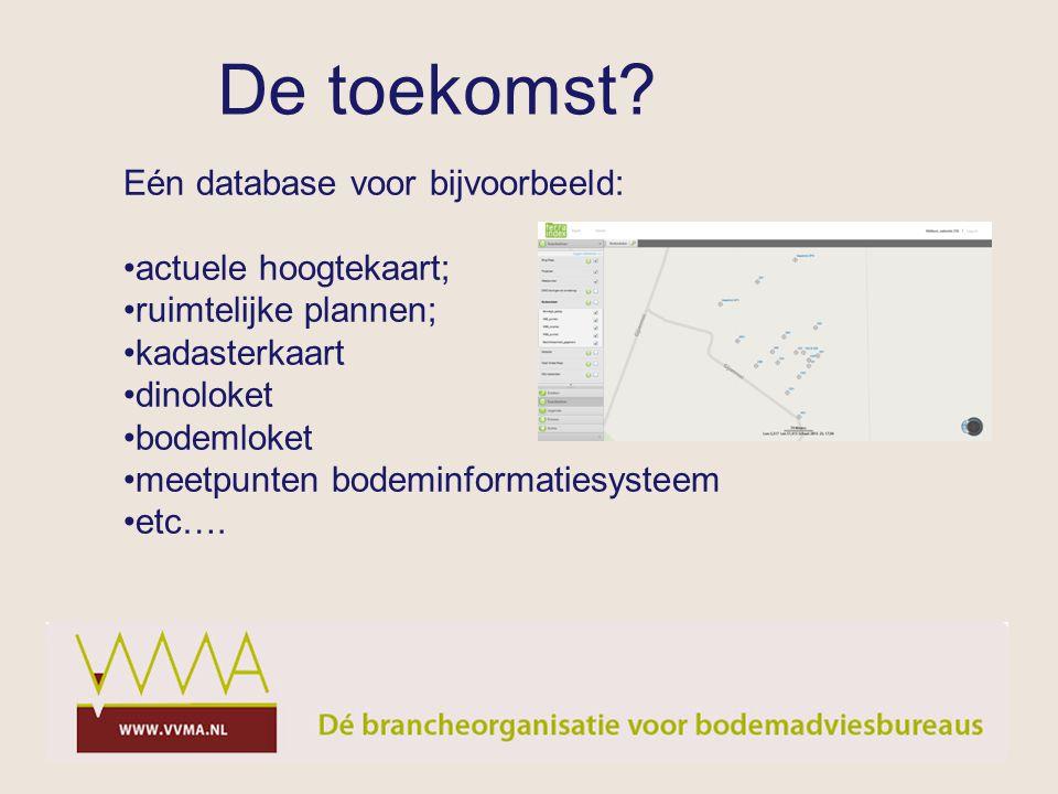 Eén database voor bijvoorbeeld: actuele hoogtekaart; ruimtelijke plannen; kadasterkaart dinoloket bodemloket meetpunten bodeminformatiesysteem etc….
