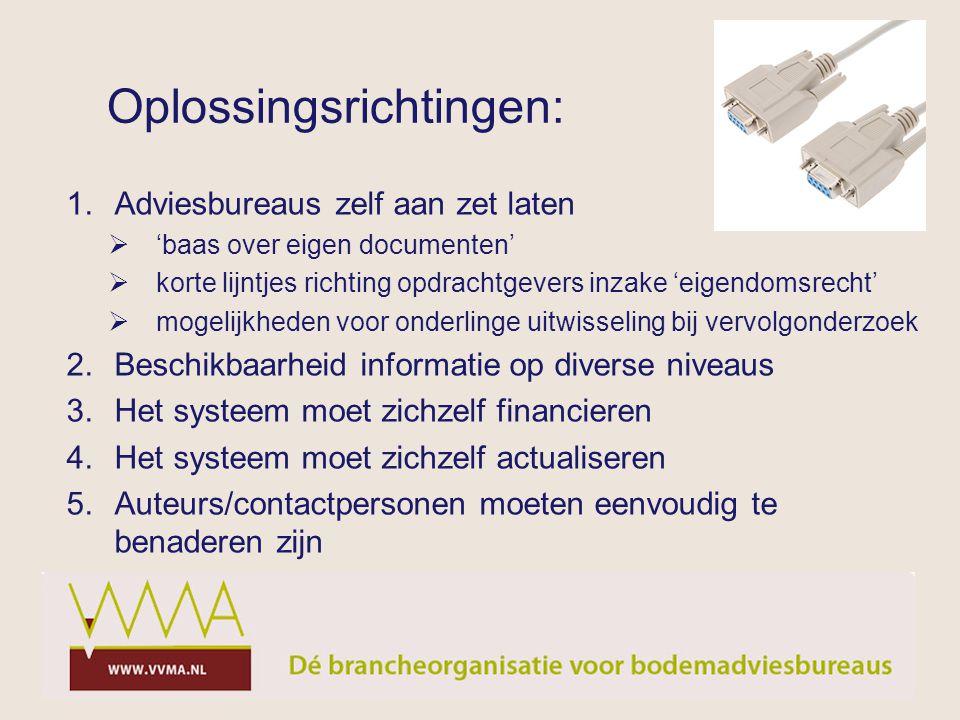 Oplossingsrichtingen: 1.Adviesbureaus zelf aan zet laten  'baas over eigen documenten'  korte lijntjes richting opdrachtgevers inzake 'eigendomsrech