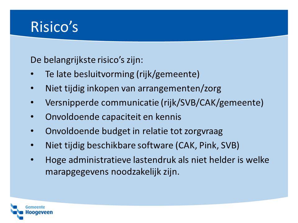 Risico's De belangrijkste risico's zijn: Te late besluitvorming (rijk/gemeente) Niet tijdig inkopen van arrangementen/zorg Versnipperde communicatie (