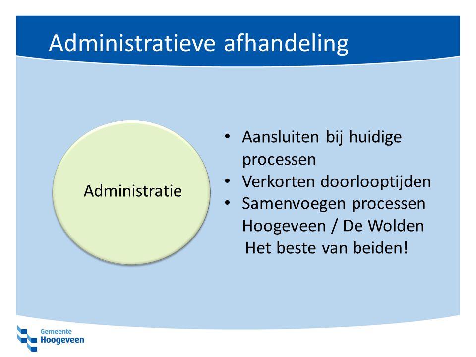 Administratieve afhandeling Aansluiten bij huidige processen Verkorten doorlooptijden Samenvoegen processen Hoogeveen / De Wolden Het beste van beiden