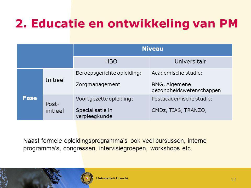 2. Educatie en ontwikkeling van PM Niveau HBOUniversitair Fase Initieel Beroepsgerichte opleiding: Zorgmanagement Academische studie: BMG, Algemene ge
