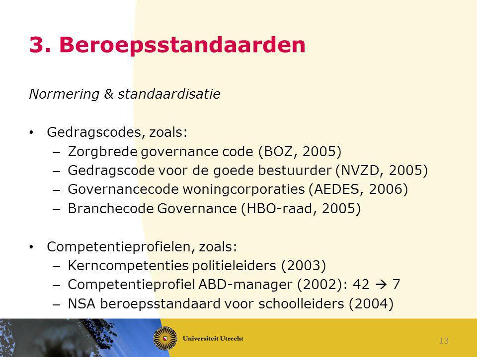 3. Beroepsstandaarden Normering & standaardisatie Gedragscodes, zoals: – Zorgbrede governance code (BOZ, 2005) – Gedragscode voor de goede bestuurder
