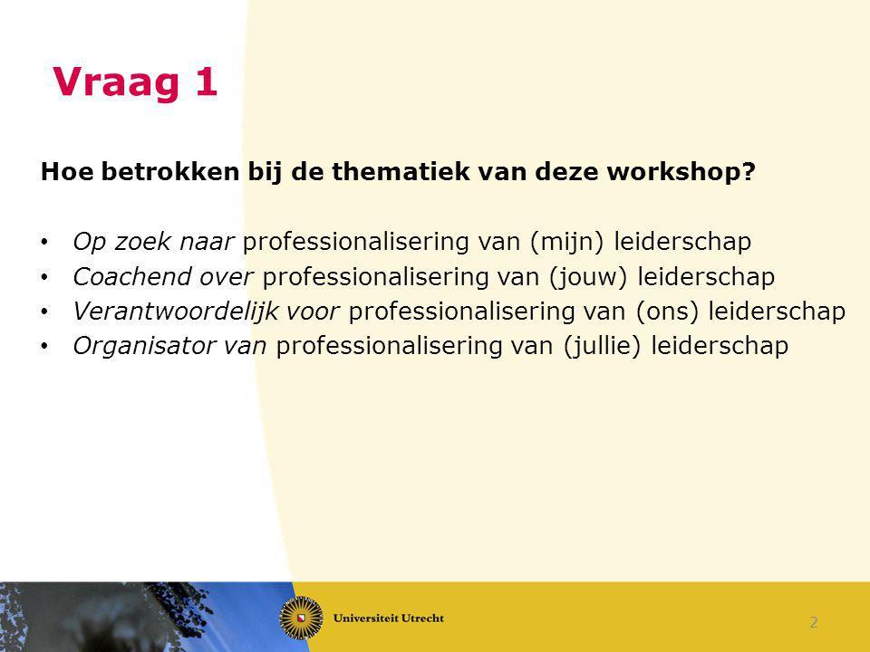 Vraag 1 Hoe betrokken bij de thematiek van deze workshop? Op zoek naar professionalisering van (mijn) leiderschap Coachend over professionalisering va