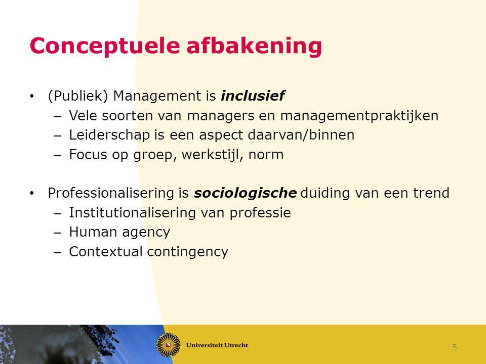 Conceptuele afbakening (Publiek) Management is inclusief – Vele soorten van managers en managementpraktijken – Leiderschap is een aspect daarvan/binne
