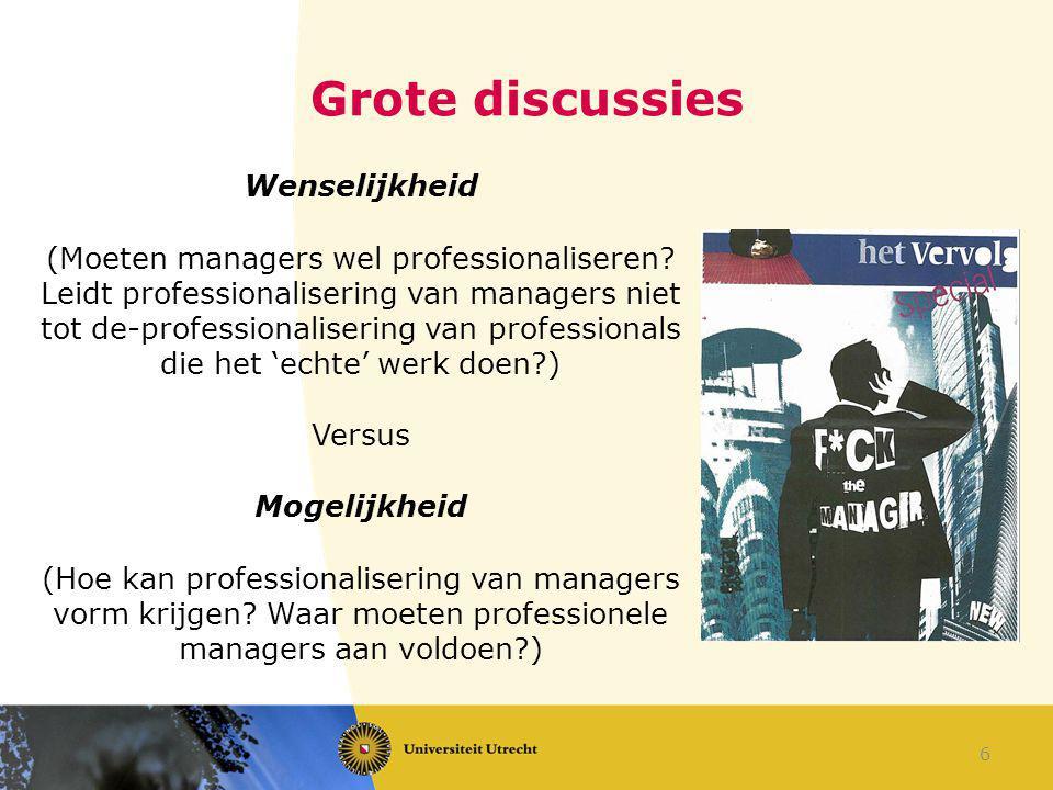 Grote discussies Wenselijkheid (Moeten managers wel professionaliseren? Leidt professionalisering van managers niet tot de-professionalisering van pro
