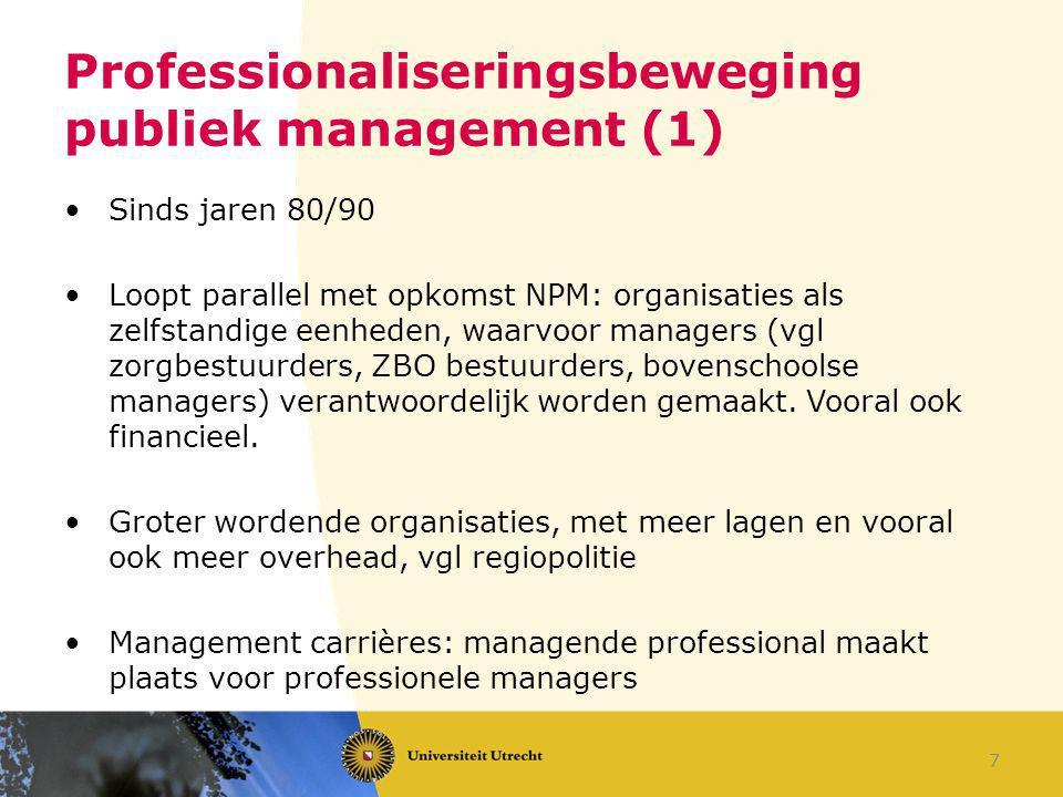 Professionaliseringsbeweging publiek management (1) Sinds jaren 80/90 Loopt parallel met opkomst NPM: organisaties als zelfstandige eenheden, waarvoor