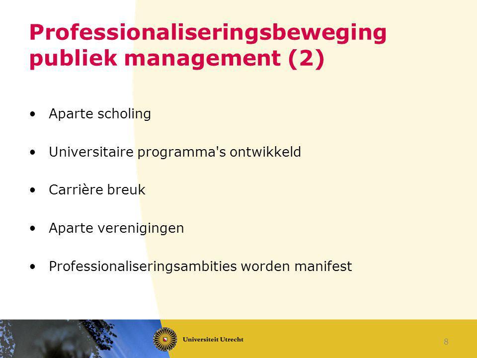 Professionaliseringsbeweging publiek management (2) Aparte scholing Universitaire programma's ontwikkeld Carrière breuk Aparte verenigingen Profession