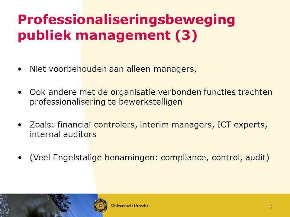 Professionaliseringsbeweging publiek management (3) Niet voorbehouden aan alleen managers, Ook andere met de organisatie verbonden functies trachten p