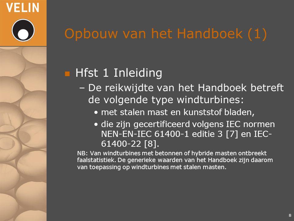 Opbouw van het Handboek (1) n Hfst 1 Inleiding –De reikwijdte van het Handboek betreft de volgende type windturbines: met stalen mast en kunststof bladen, die zijn gecertificeerd volgens IEC normen NEN-EN-IEC 61400-1 editie 3 [7] en IEC- 61400-22 [8].