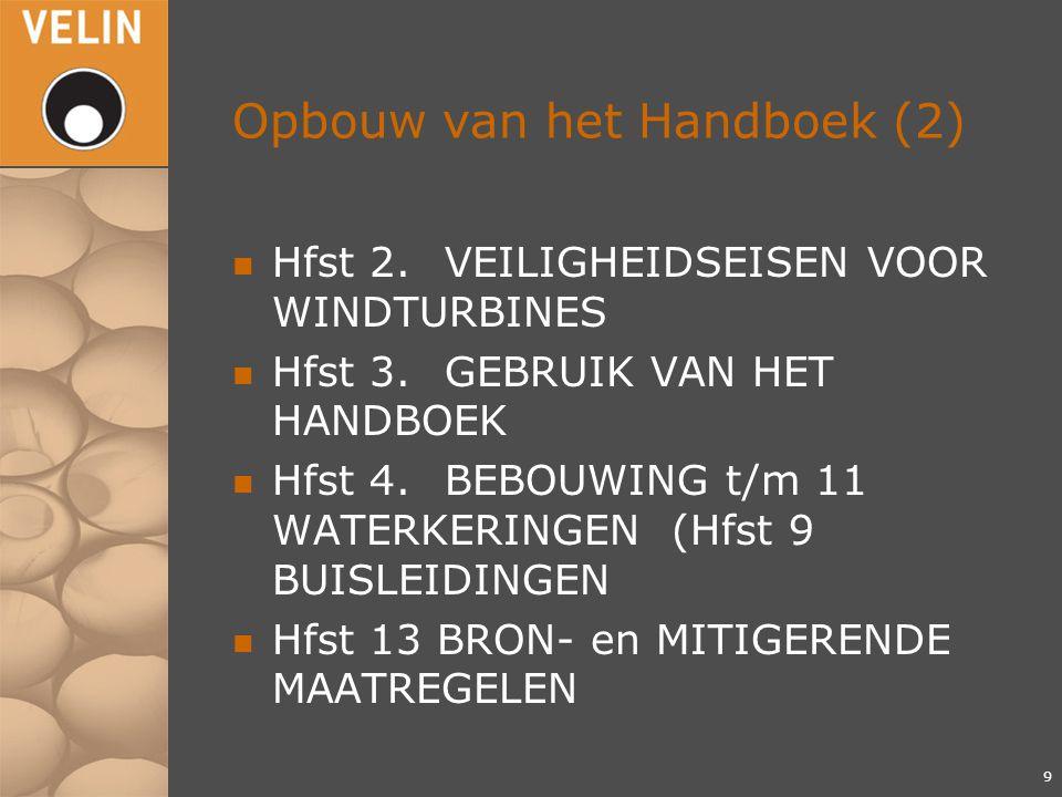 Opbouw van het Handboek (2) n Hfst 2.VEILIGHEIDSEISEN VOOR WINDTURBINES n Hfst 3.GEBRUIK VAN HET HANDBOEK n Hfst 4.BEBOUWING t/m 11 WATERKERINGEN (Hfst 9 BUISLEIDINGEN n Hfst 13 BRON- en MITIGERENDE MAATREGELEN 9