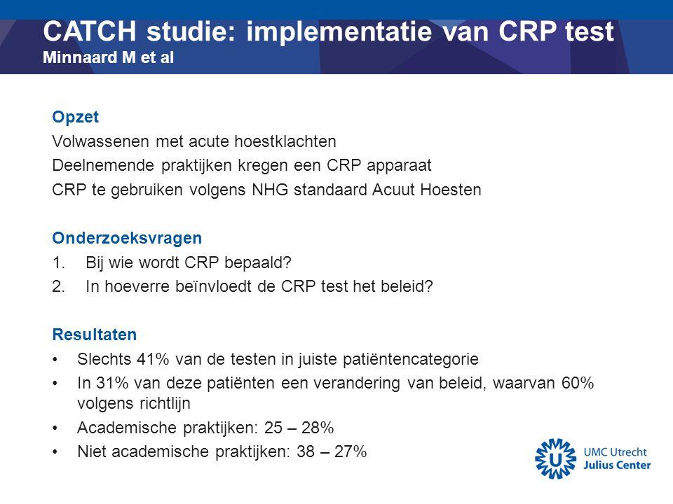 CATCH studie: implementatie van CRP test Minnaard M et al Opzet Volwassenen met acute hoestklachten Deelnemende praktijken kregen een CRP apparaat CRP