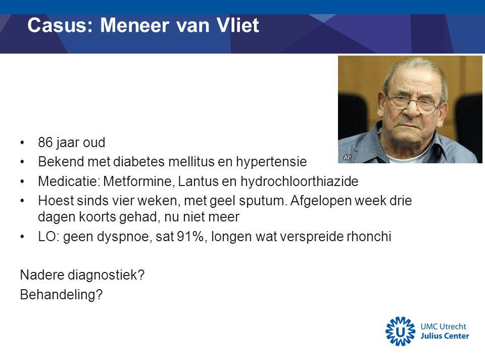 Casus: Meneer van Vliet 86 jaar oud Bekend met diabetes mellitus en hypertensie Medicatie: Metformine, Lantus en hydrochloorthiazide Hoest sinds vier