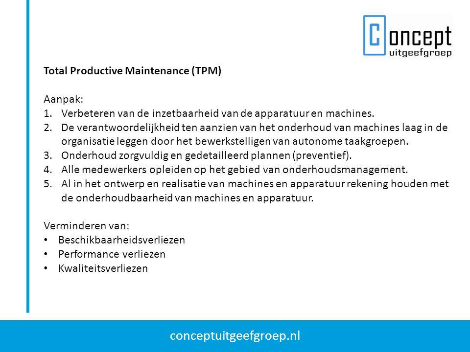 conceptuitgeefgroep.nl Total Productive Maintenance (TPM) Aanpak: 1.Verbeteren van de inzetbaarheid van de apparatuur en machines. 2.De verantwoordeli