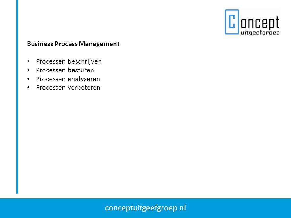 conceptuitgeefgroep.nl Business Process Management Processen beschrijven Processen besturen Processen analyseren Processen verbeteren