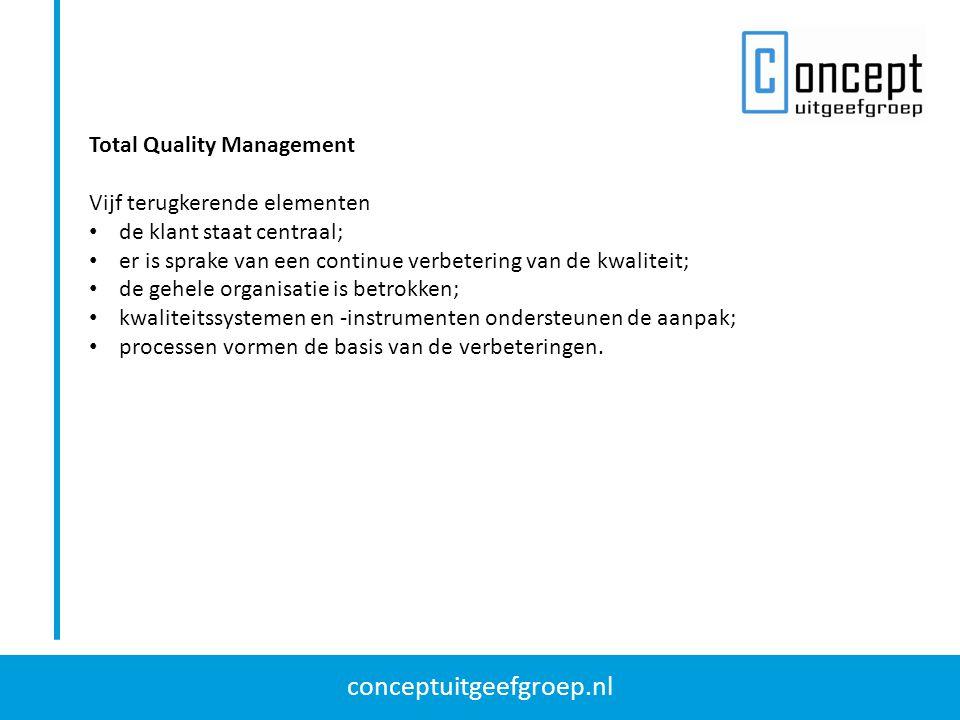 conceptuitgeefgroep.nl Total Quality Management Vijf terugkerende elementen de klant staat centraal; er is sprake van een continue verbetering van de kwaliteit; de gehele organisatie is betrokken; kwaliteitssystemen en -instrumenten ondersteunen de aanpak; processen vormen de basis van de verbeteringen.
