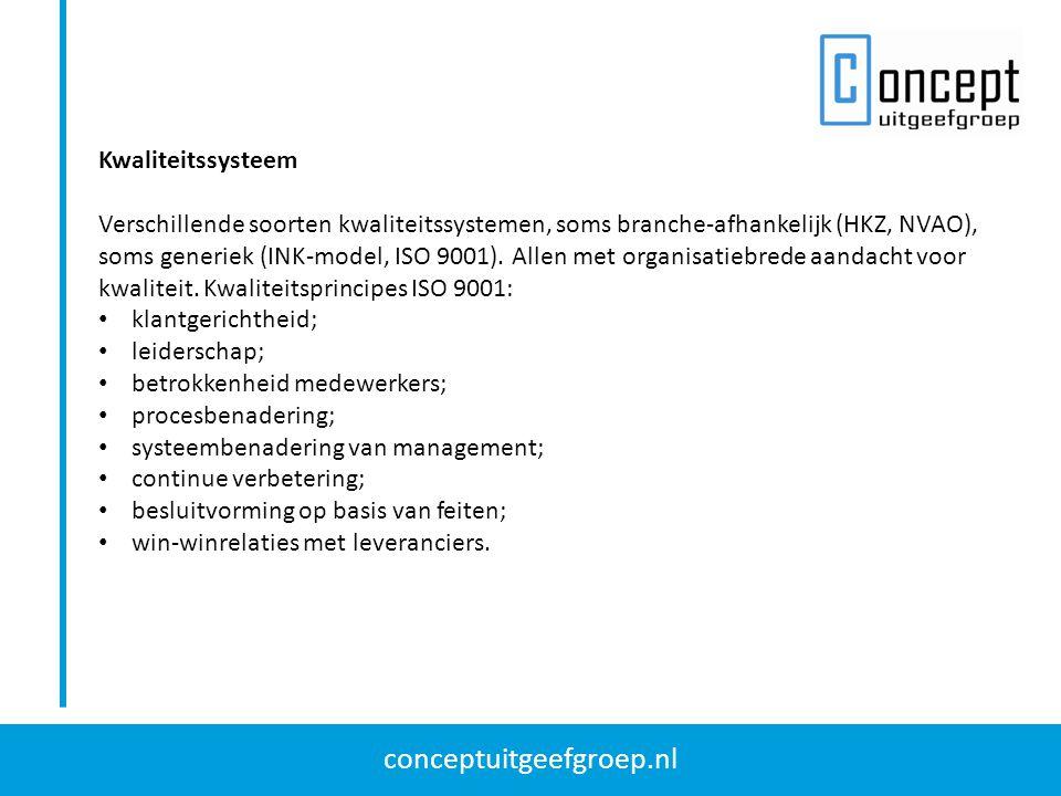 conceptuitgeefgroep.nl Kwaliteitssysteem Verschillende soorten kwaliteitssystemen, soms branche-afhankelijk (HKZ, NVAO), soms generiek (INK-model, ISO