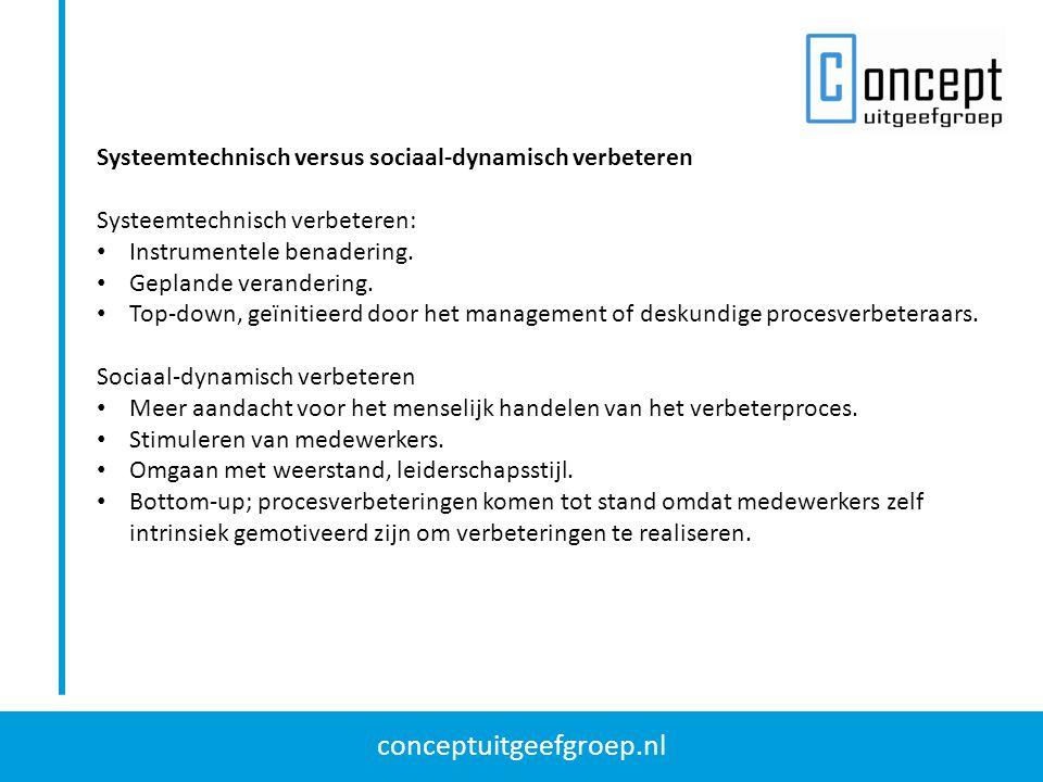 conceptuitgeefgroep.nl Systeemtechnisch versus sociaal-dynamisch verbeteren Systeemtechnisch verbeteren: Instrumentele benadering. Geplande veranderin
