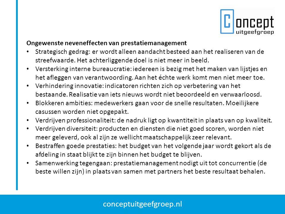 conceptuitgeefgroep.nl Ongewenste neveneffecten van prestatiemanagement Strategisch gedrag: er wordt alleen aandacht besteed aan het realiseren van de