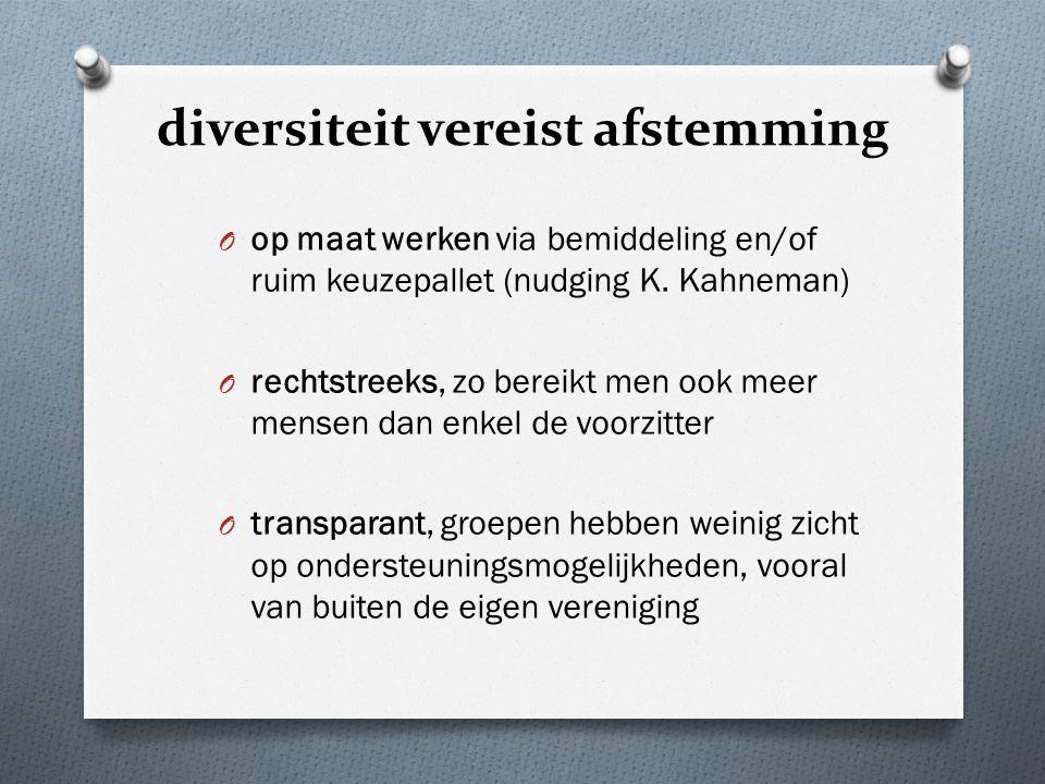 diversiteit vereist afstemming O op maat werken via bemiddeling en/of ruim keuzepallet (nudging K.