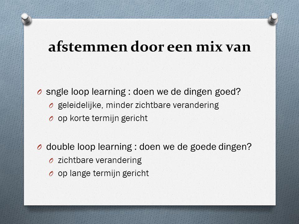 afstemmen door een mix van O sngle loop learning : doen we de dingen goed.