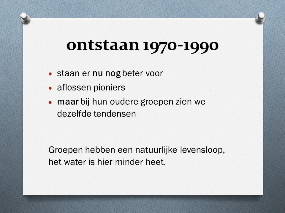 ontstaan 1970-1990  staan er nu nog beter voor  aflossen pioniers  maar bij hun oudere groepen zien we dezelfde tendensen Groepen hebben een natuurlijke levensloop, het water is hier minder heet.