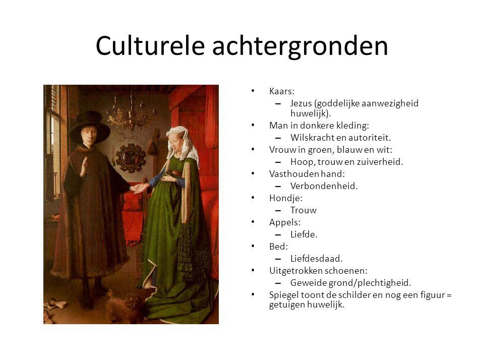 Culturele achtergronden Kaars: – Jezus (goddelijke aanwezigheid huwelijk). Man in donkere kleding: – Wilskracht en autoriteit. Vrouw in groen, blauw e