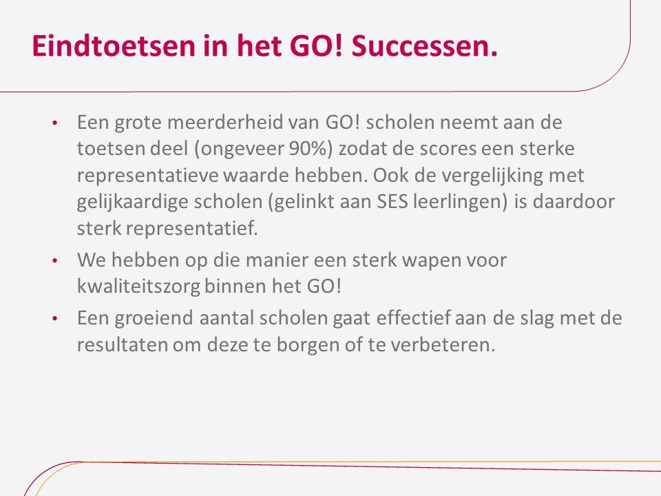 Eindtoetsen in het GO! Successen. Een grote meerderheid van GO! scholen neemt aan de toetsen deel (ongeveer 90%) zodat de scores een sterke representa