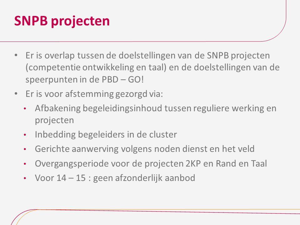 SNPB projecten Er is overlap tussen de doelstellingen van de SNPB projecten (competentie ontwikkeling en taal) en de doelstellingen van de speerpunten