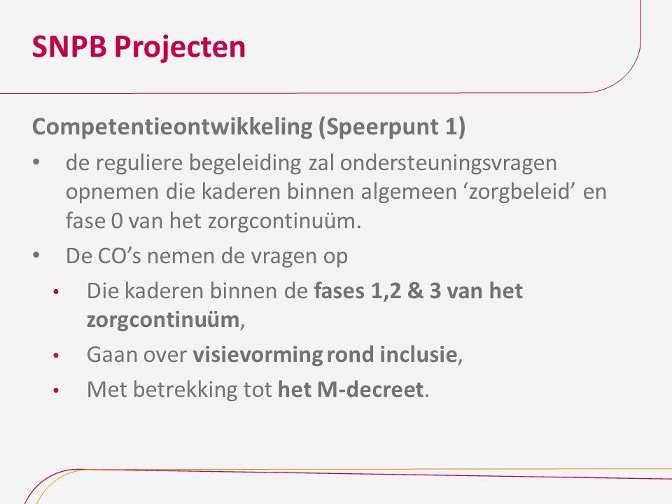 SNPB Projecten Competentieontwikkeling (Speerpunt 1) de reguliere begeleiding zal ondersteuningsvragen opnemen die kaderen binnen algemeen 'zorgbeleid