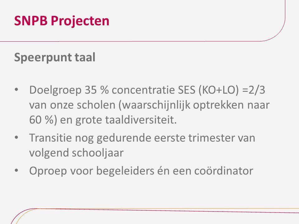 SNPB Projecten Speerpunt taal Doelgroep 35 % concentratie SES (KO+LO) =2/3 van onze scholen (waarschijnlijk optrekken naar 60 %) en grote taaldiversit