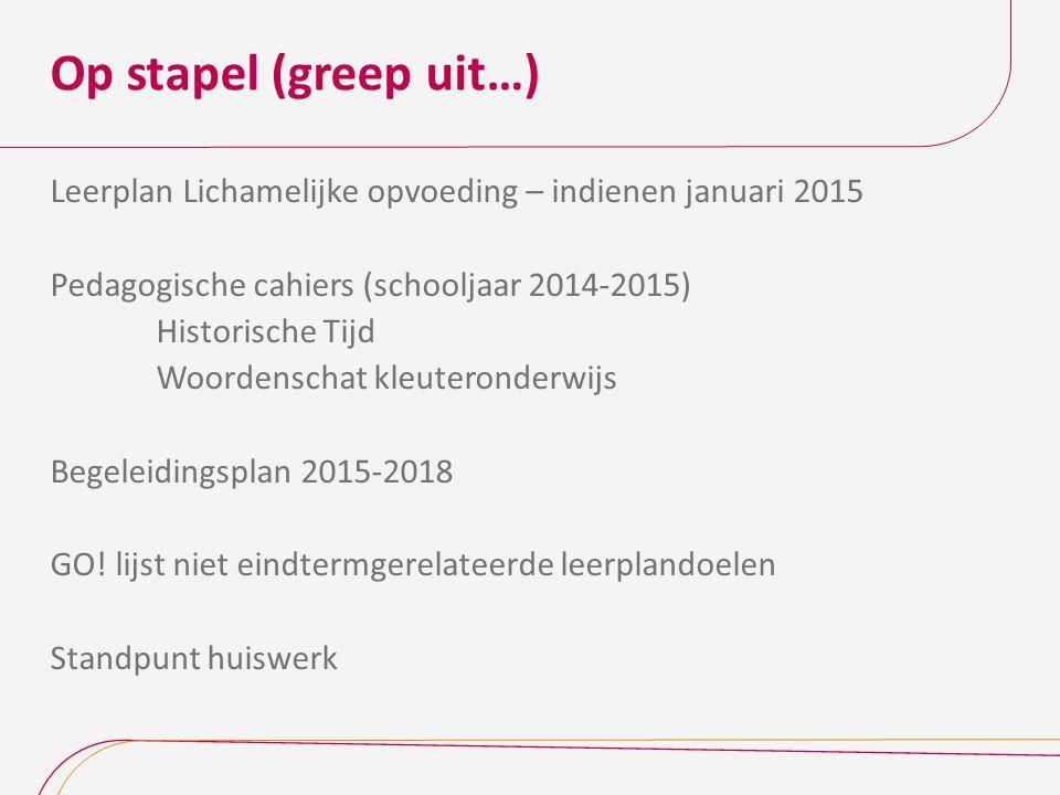 Op stapel (greep uit…) Leerplan Lichamelijke opvoeding – indienen januari 2015 Pedagogische cahiers (schooljaar 2014-2015) Historische Tijd Woordensch
