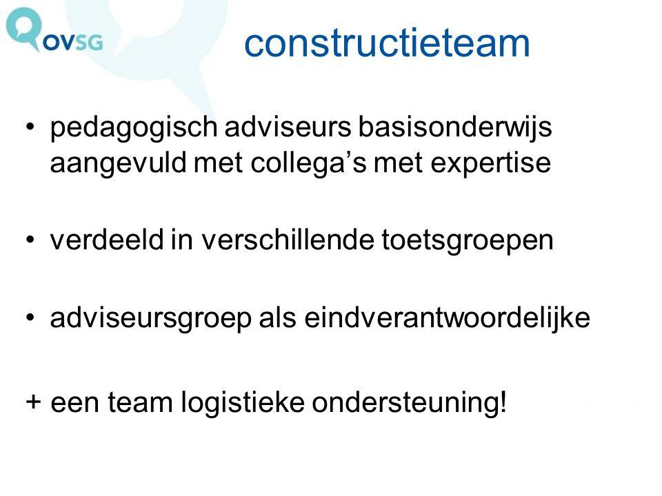 constructieteam pedagogisch adviseurs basisonderwijs aangevuld met collega's met expertise verdeeld in verschillende toetsgroepen adviseursgroep als e