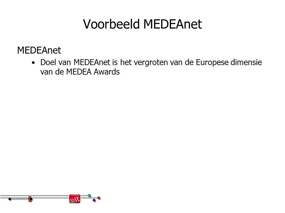 Voorbeeld MEDEAnet MEDEAnet Doel van MEDEAnet is het vergroten van de Europese dimensie van de MEDEA Awards