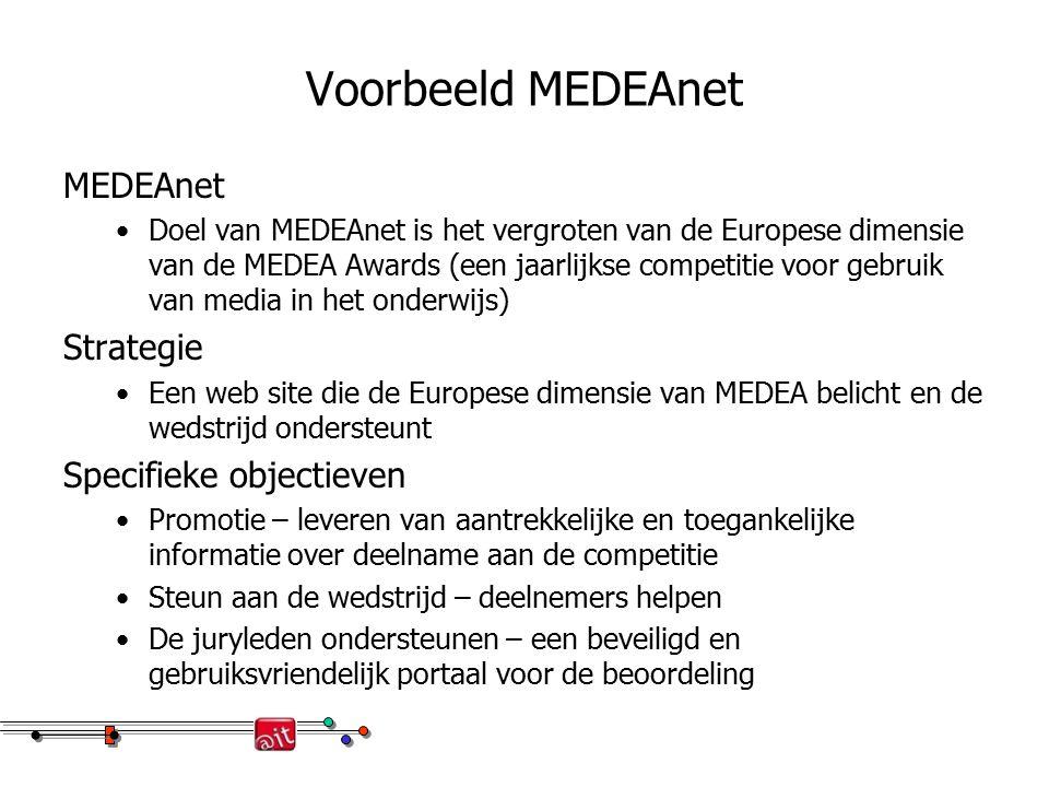 Voorbeeld MEDEAnet MEDEAnet Doel van MEDEAnet is het vergroten van de Europese dimensie van de MEDEA Awards (een jaarlijkse competitie voor gebruik van media in het onderwijs) Strategie Een web site die de Europese dimensie van MEDEA belicht en de wedstrijd ondersteunt Specifieke objectieven Promotie – leveren van aantrekkelijke en toegankelijke informatie over deelname aan de competitie Steun aan de wedstrijd – deelnemers helpen De juryleden ondersteunen – een beveiligd en gebruiksvriendelijk portaal voor de beoordeling