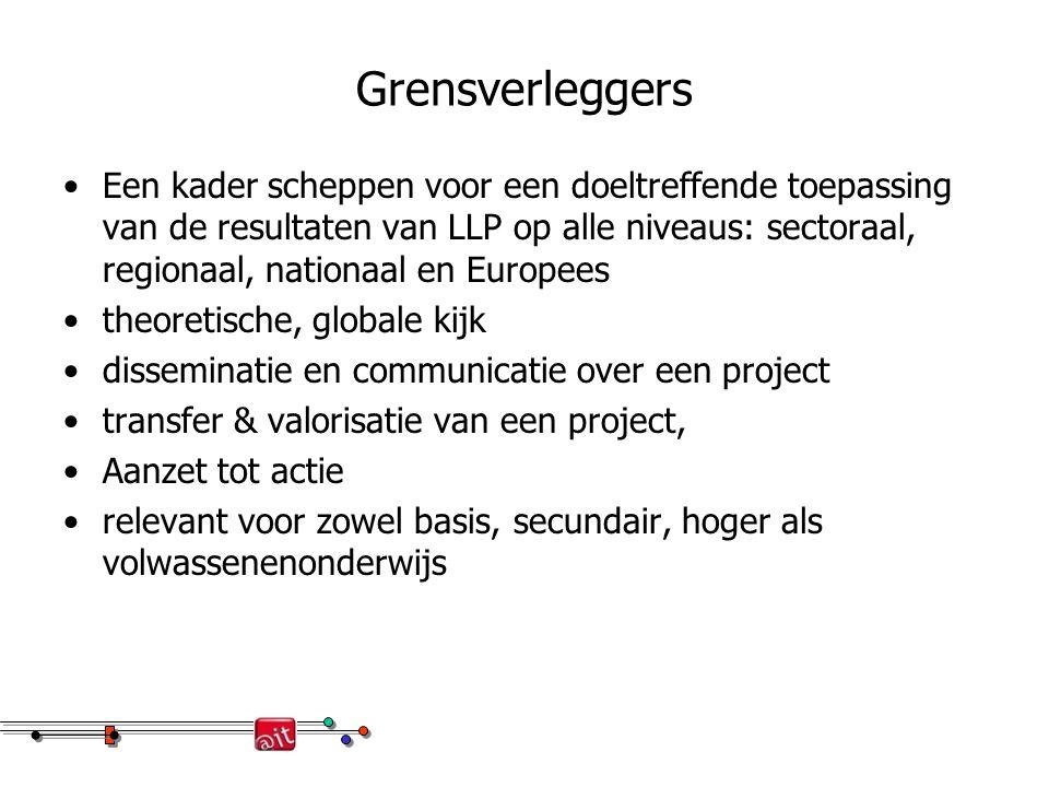 Grensverleggers Een kader scheppen voor een doeltreffende toepassing van de resultaten van LLP op alle niveaus: sectoraal, regionaal, nationaal en Eur