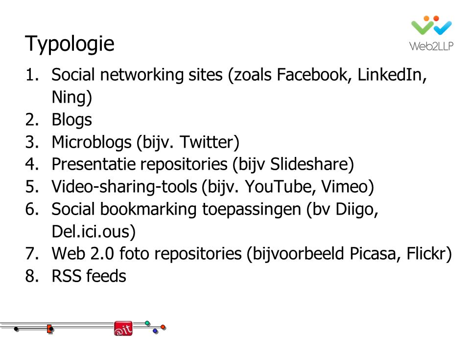Typologie 1.Social networking sites (zoals Facebook, LinkedIn, Ning) 2.Blogs 3.Microblogs (bijv. Twitter) 4.Presentatie repositories (bijv Slideshare)
