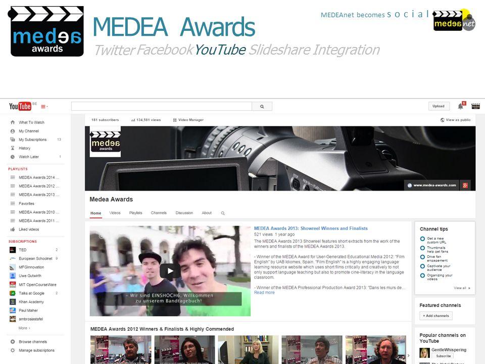 Twitter FacebookYouTubeSlideshareIntegration MEDEA Awards MEDEAnet becomes social