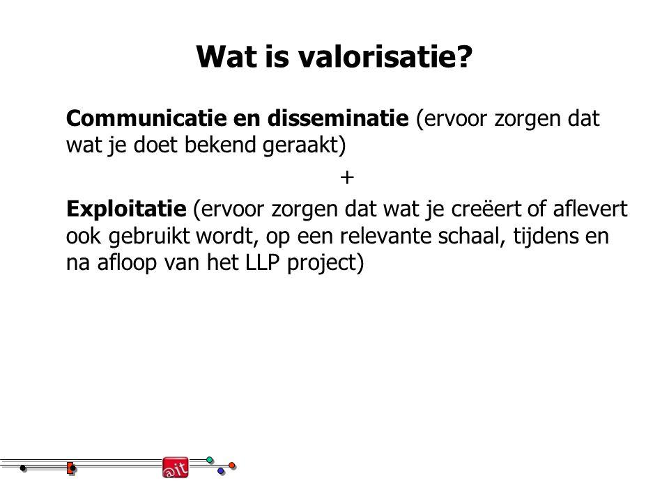 Wat is valorisatie? Communicatie en disseminatie (ervoor zorgen dat wat je doet bekend geraakt) + Exploitatie (ervoor zorgen dat wat je creëert of afl